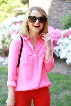 Poor Little It Girl - James Jeans Red Crop Jeans and J.Crew Neon Pink Silk Blouse