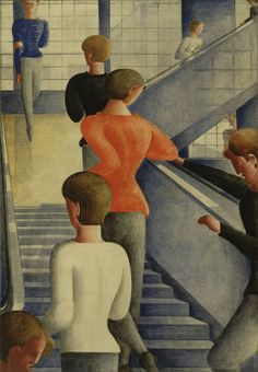 Oskar Schlemmer Bauhaus Stairway 1932 Oil on canvas 63 7 8 x 45 162 3 x 114 3 cm Gift of Philip Johnson 597 1942 Painting and Sculpture Walter Gropius, Herbert Bayer, Roy Lichtenstein, Bauhaus Building, Ballet, Arte Popular, Wassily Kandinsky, Cubism, Museum Of Modern Art