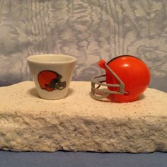 NFL MINIATURE PORCELAIN CUP (2007) & MINIATURE HELMET (2010) Cleveland Browns #ClevelandBrowns