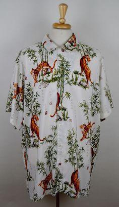 c22301e560de Profile Island Men s Tiger Bamboo White Short Sleeve Hawaiian Shirt 3XLT  XXXLT  ProfileIsland  ButtonFront
