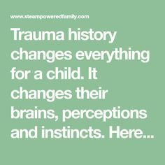 Trauma history changes everything for a child. It changes their brains, perceptions and instincts. Here are tips for supporting a child with trauma history.