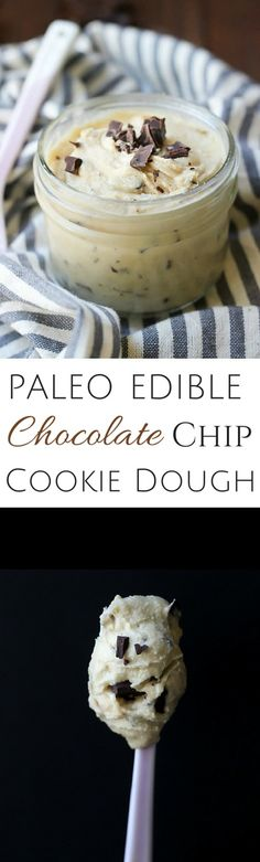Paleo Edible Chocolate Chip Cookie Dough | This recipe tastes JUST like the real thing! #paleo #grainfree #glutenfree