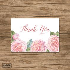 Floral Thank You Card, Baby Shower Thank You Card, Bridal Shower Thank You Card - rustic watercolor roses green olive pink blush - Jenny by DIVart on Etsy