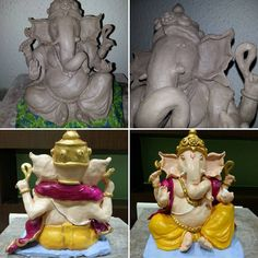 Handmade Ganpati Bappa #fireclay #ecofriendly #elephantgod #handmade #Ganpati #shadu Clay Ganesha, Ganesha Painting, Lord Ganesha, Eco Friendly Ganpati Decoration, Ganpati Decoration Design, Clay Wall Art, Clay Art, Clay Projects, Clay Crafts