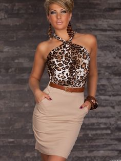 Burvogue Fashion nicholas leopard print racer party dress