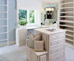 Kristin Peake Interiors: Blue walk-in closet design with blue paint color and white roman shade. Blue zebra ...