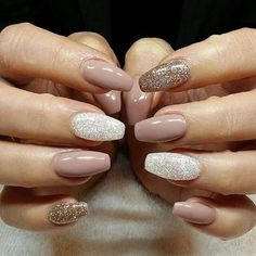 mixed glitter nude nails