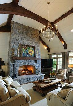 Farmhouse style family room. Julie Davis Interiors. -via Interior Canvas