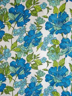 Vintage Fabric-1970s-Sapphire Blue, Light Blue, Mint, Bright Spring Green, White-Floral Curtain Fabric. $13.00, via Etsy.