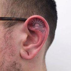 Hand poke ear tattoo by Indy Voet. #IndyVoet #handpoke #lines #subtle #ear #eartattoo #blackwork #linework