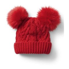 Gap Cable Knit Pom Pom Beanie ($20) ❤ liked on Polyvore featuring accessories, hats, modern red, regular, cable knit pom pom beanie, red beanie hat, pom pom hat, cable knit beanie hat and cable knit hat