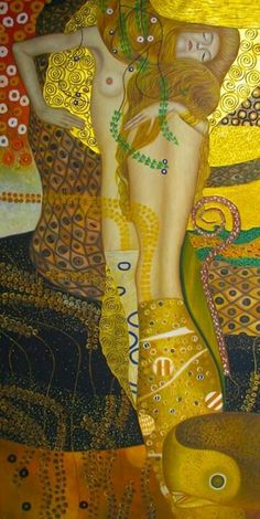 ARTIST Gustav Klimt Water Serpents I, oil and gold on canvas, Galerie Belvedere, Vienna, Austria Gustav Klimt, Art Klimt, Art Nouveau, Kunst Online, Oil Painting Reproductions, Art Graphique, Graphic, Love Art, Art History