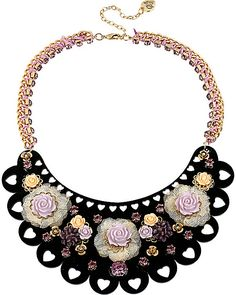 FABULOUS FLOWERS HALF MOON NECKLACE MULTI accessories jewelry necklaces fashion