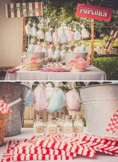 Wedding Themes We're loving this gorgeous cotton candy and dessert bar at this fun carnival wedding! - Julia and Marco are both incredibly talented artists who went into creativity overload while planning their incredibly DIY carnival wedding! Diy Carnival, Circus Carnival Party, Circus Theme Party, Carnival Wedding, Carnival Birthday Parties, Carnival Themes, Circus Birthday, Vintage Carnival, Backyard Carnival
