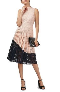 Topshop Colorblock Pleated Lace Midi Dress available at #Nordstrom
