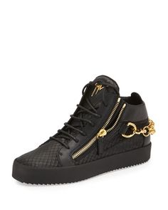 Embossed Python Mid-Top Leather Sneaker, Black by Giuseppe Zanotti at Neiman Marcus.
