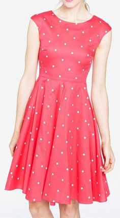 Womens 50s Style Dress, Bright Pink Spot