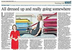 Great coverage on Michaela Jedinak fashion label by the business editor Carol Lewis in THE TIMES