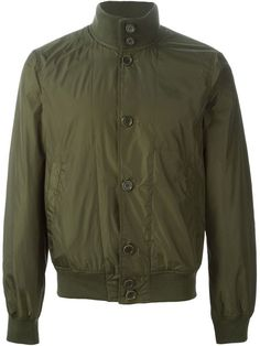 $157, Olive Bomber Jacket: Aspesi Stand Up Collar Bomber Jacket. Sold by farfetch.com. Click for more info: https://lookastic.com/men/shop_items/308337/redirect