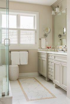 Ideas For Bath Room Paint Beige Tile Benjamin Moore Bathroom Paint Colors, Wall Paint Colors, Neutral Bathroom Colors, Neutral Colors, Luxury Interior Design, Bathroom Interior Design, Interior Paint, Baño Color Beige, White Wall Paint