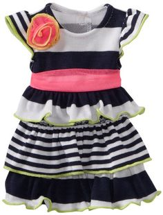 Dollie & Me Striped Tiered Dress with Doll Garment, Navy/White