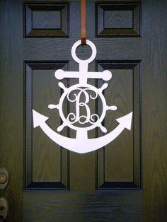 24 Anchor Metal Monogram Door Hanger, Front Door Wreath, Metal Monogram Door Hanger Over 20 color choices available. This will add a little