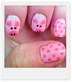 The best of my two favs pigs and nails oh-the-joy-of-nail-art Fancy Nails, Love Nails, How To Do Nails, Pretty Nails, Nails For Kids, Girls Nails, Pig Nails, Little Girl Nails, Animal Nail Art