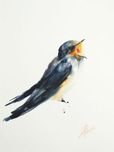 ARTFINDER: Barn Swallow (Hirundo rustica) by Andrzej Rabiega - Barn Swallow - watercolor