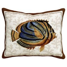Bring a touch of coastal charm to your living room window seat or master suite chaise with this lovely wool pillow, showcasing a hand-embroidered fish motif ...