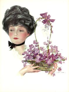 #henryhutt #Girl for #My #Valentine #valentines #day #antique #vintage #retro #color #Print #hutt #Beautiful #woman #purple #flowers #oakwoodview #evt by OakwoodView