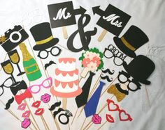Wedding photo booth props by LeStudioRose on Etsy Wedding Photo Booth Props, Photo Booth Backdrop, Party Props, Backdrops, Wedding Photos, Birthday, Handmade, Etsy, Google