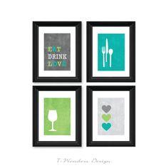 Modern Kitchen or Dining Room Wall Art Print Set by 7WondersDesign