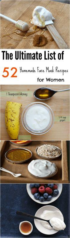 The Ultimate List of 52 Homemade Fa ce Mask Recipes for Women #homemade #diy #facemask #recipes via @Mamabeeblog
