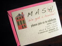 Best housewarming invite ever! game of MASH customizable housewarming invitations. $14.00, via Etsy.