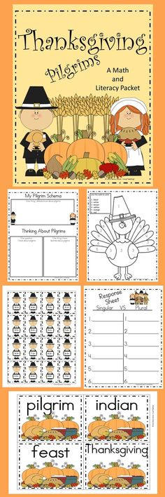 This is a Pilgrim Packet filled with Math and Literacy Activities. I have included color and some black and white. This packet has 57 pages and includes: Place Value Task Cards Place Value Response Sheet Pilgrim Schema Activity Thanksgiving Vocabulary Cards Things I Am Thankful For Mayflower Tree Map Turkey Color by Code Pilgrim Tree Map Venn Diagram Subtraction Pilgrim Game Singular/Plural Sort with Response Sheet Mayflower Subtraction game Pilgrim Craftivity Mayflower Scrambled Sentences