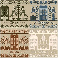 "Monotone houses...think i could make these and love the line on another cross stitch sampler that says, ""this is not a crack house, this is a crack home""."