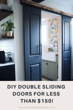 Your E-Organization - Employ An Accountant Or Do It Yourself An Inexpensive Way To Diy Double Sliding Doors Using Closet Hardware - All For Under 150 Diy Sliding Door, Double Sliding Doors, Diy Home Decor On A Budget, Kitchen On A Budget, Kitchen Ideas, Interior Barn Doors, Painting Interior Doors, Interior Paint, Closet Doors