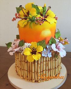 Tropical Bamboo Cake by Ksyusha - Birthday Cake Blue Ideen Luau Cakes, Beach Cakes, Fondant Cakes, Cupcake Cakes, Bolo Paris, Hawaii Cake, Luau Birthday, Hawaii Birthday Cake, Hawaiian Party Cake