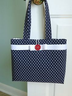 So perfect for summer. Navy Blue and White Polka Dot Summer Purse by Sweet Pea Purse Company
