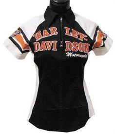 Harley-Davidson® Women's Iconic Short Sleeve Woven Shirt 99148-14VW Harley Davidson Gear, Harley Gear, Davidson Bike, Harley Davidson Motorcycles, Motorcycle Style, Bike Style, Motorcycle Outfit, Motorcycle Accessories, Harley Shirts