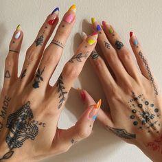 Mini Tattoos, Small Tattoos, Nail Swag, Piercing Tattoo, Piercings, Aesthetic Tattoo, Fire Nails, Poke Tattoo, Finger Tattoos