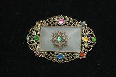Czech glass filigree Art Deco vintage brooch multicoloured 1930s signed