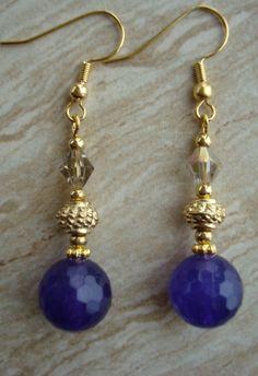 Amethyst and Swarovski Earrings