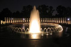 WWII Memorial - D.C. - at night. This memorial is breathtaking.