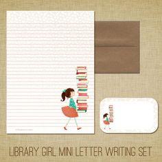 Mini Letter Writing Set - Library Girl - Cute Kids Stationery Set Library Books Reading Librarian Teacher