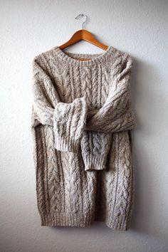 oversized crochet knit sweater. comfy + cozy.