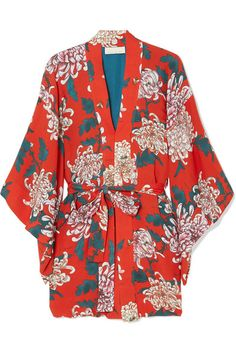 Fleur Du Mal - Haori Printed Silk-crepe Kimono - Red