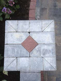 Unilock Brick Paver Brussels Tumbled Diamond Cut Pillar top.