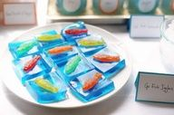 If having a whole cake for a party isn't your style, stick some Swedish fish in blue jello!