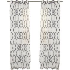 Trellis Sheer Grommet Curtain Panel, Charcoal